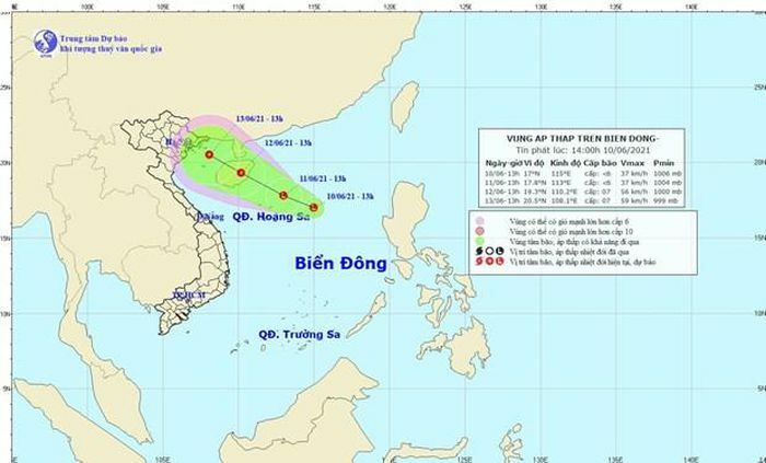 Xuất hiện vùng áp thấp trên vùng biển phía Đông quần đảo Hoàng Sa - ảnh 1