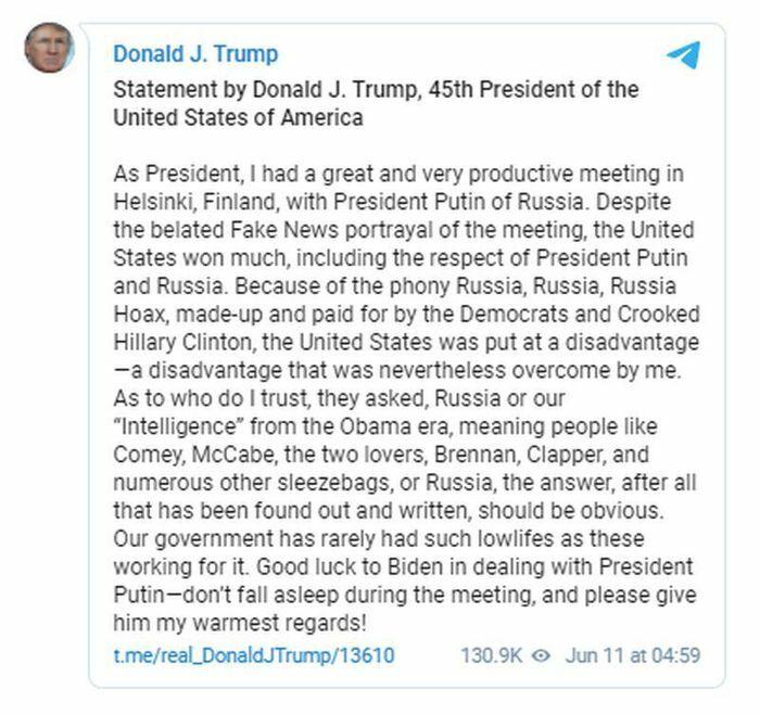 Ông Trump dặn ông Biden ''đừng ngủ gật'' trong cuộc gặp với Tổng thống Putin - ảnh 1