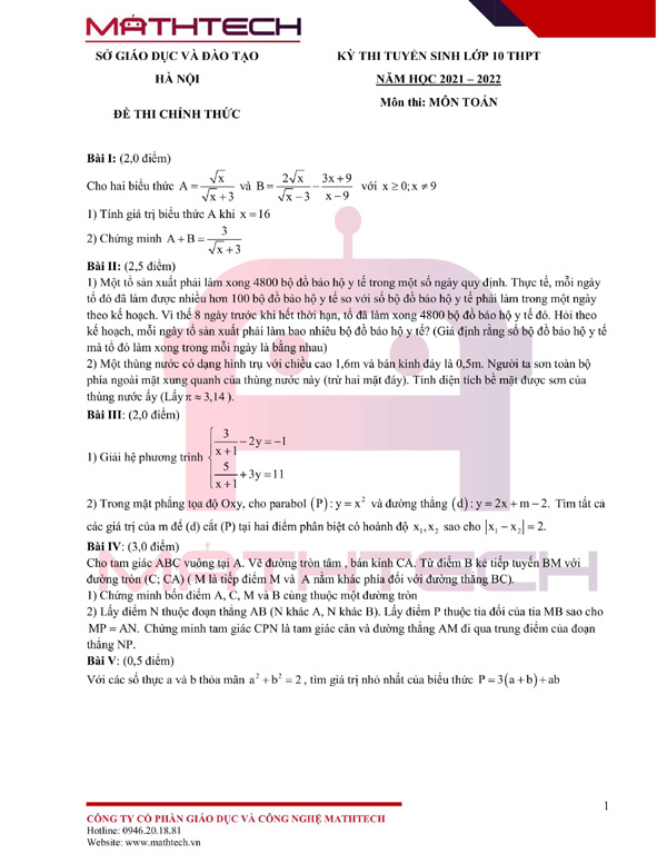 Lời giải đề thi lớp 10 môn Toán của Hà Nội 2021 - ảnh 2