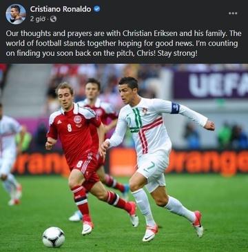 Ronaldo: 'Tôi tin Eriksen sẽ sớm trở lại sân cỏ' - ảnh 1