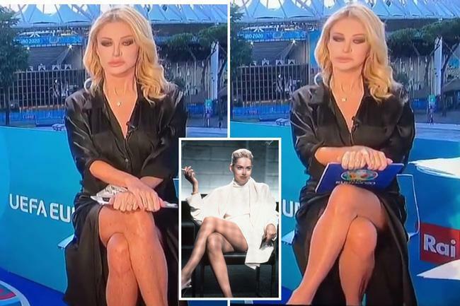Nữ MC nóng bỏng vắt chân hớ hênh, lộ việc không mặc nội y dẫn bản tin Euro - ảnh 2