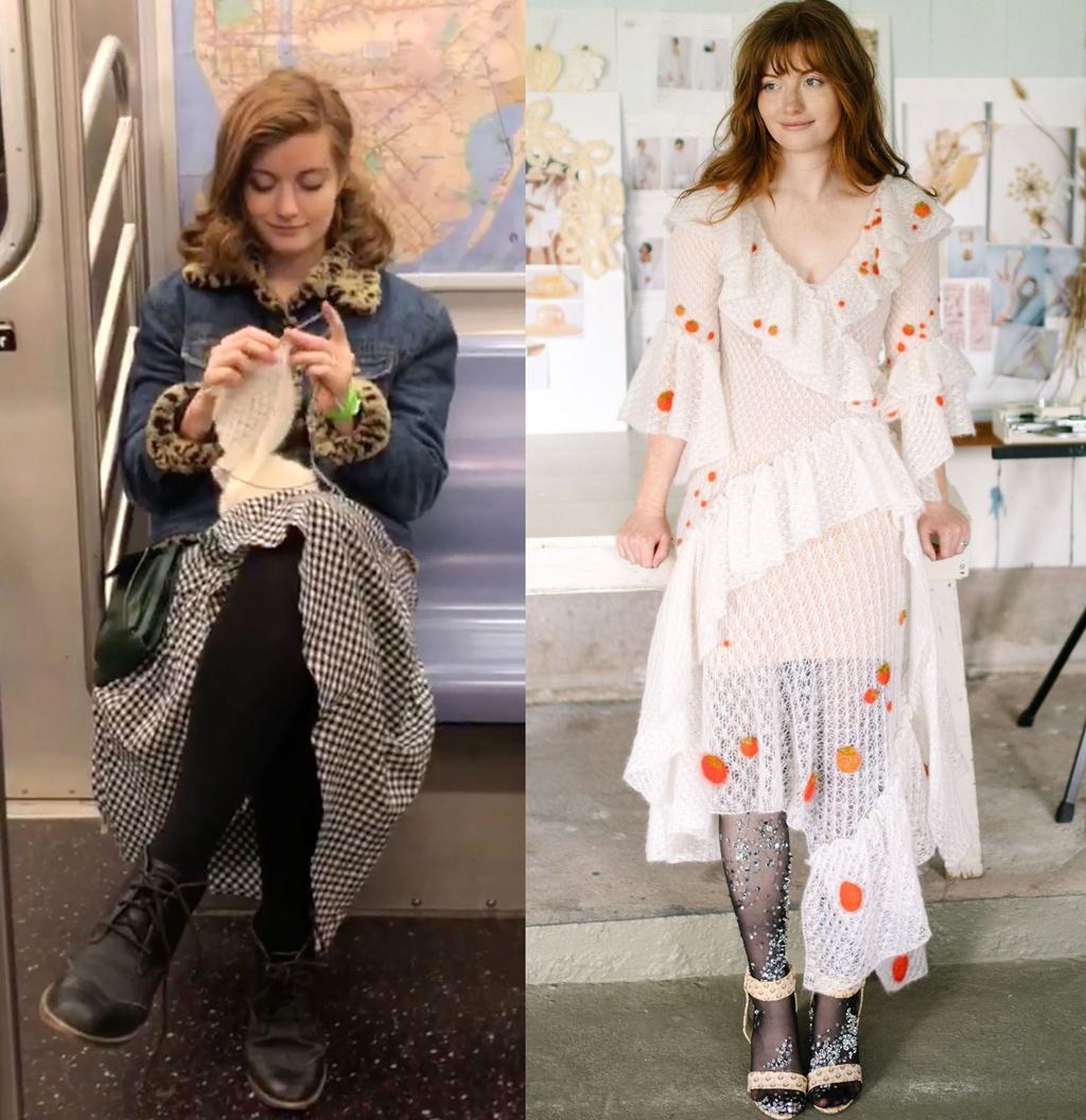 Cô dâu tự đan váy cưới trên tàu điện ngầm - ảnh 1