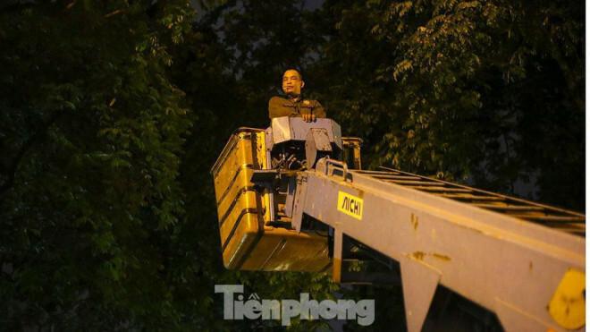 Xuyên đêm thu dọn hàng loạt cây đổ khắp phố phường Hà Nội sau mưa giông - ảnh 5