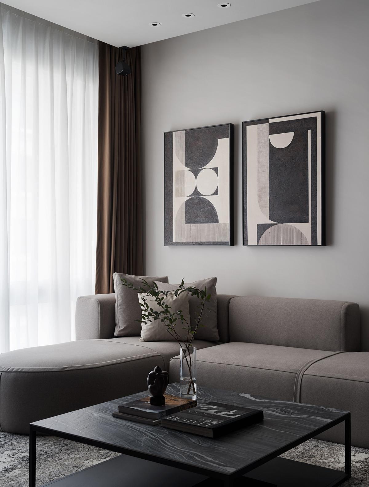 Căn hộ nhỏ tạo sự thư giãn về mặt thị giác bằng những gam màu tối đầy ấn tượng - ảnh 10
