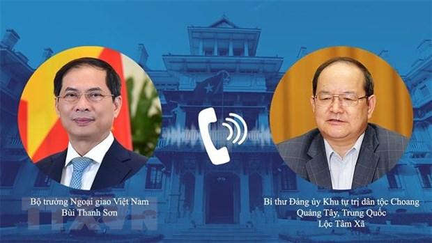 Bộ trưởng Ngoại giao Bùi Thanh Sơn điện đàm với Bí thư Quảng Tây - ảnh 1