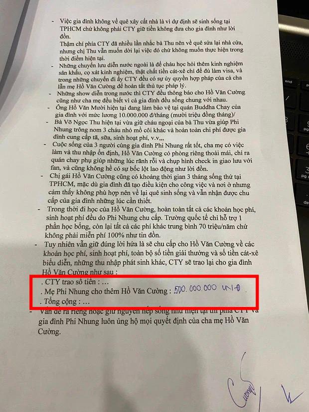 Cụ thể các khoản tiền Hồ Văn Cường nhận được khi rời khỏi nhà cố ca sĩ Phi Nhung là bao nhiêu? - ảnh 5