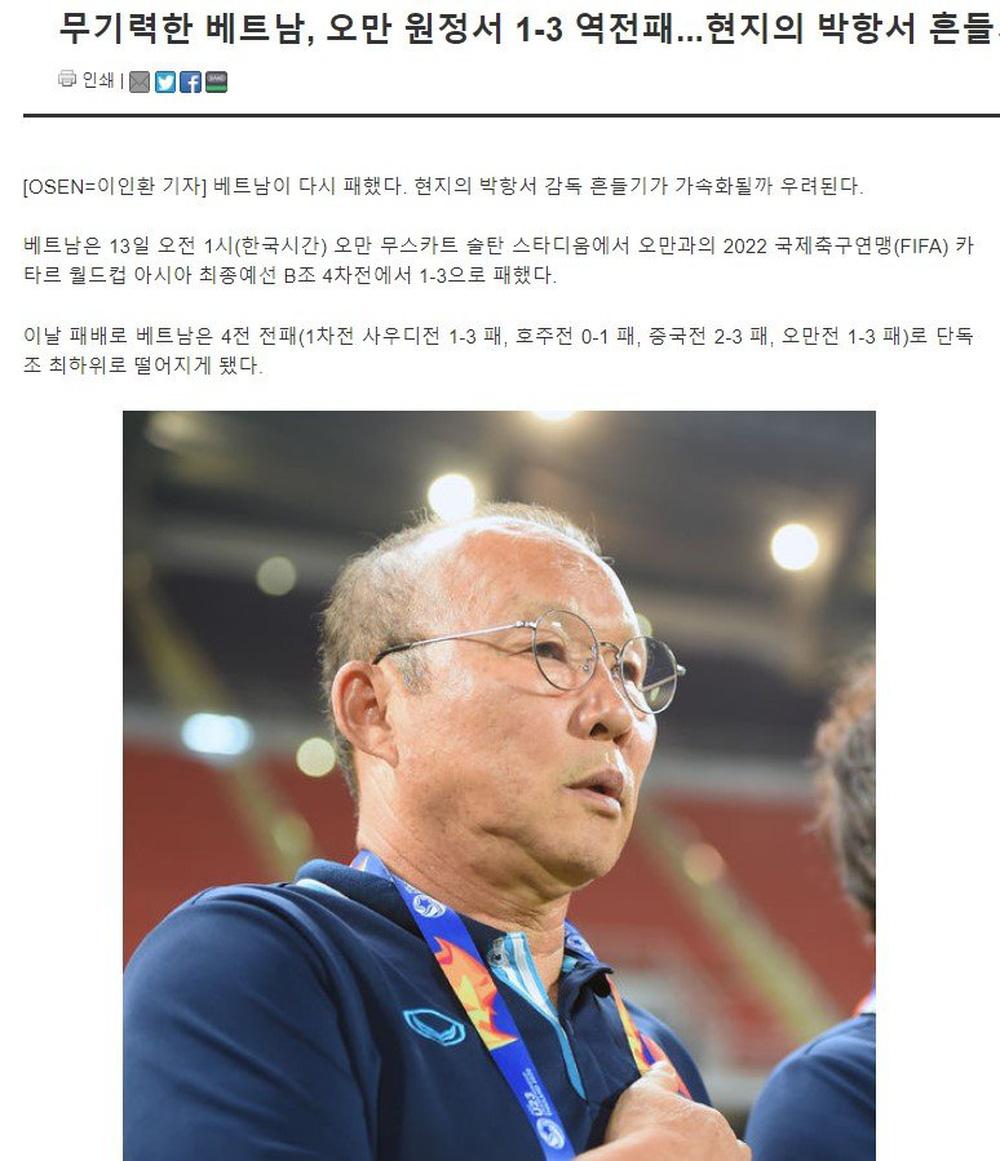 Báo Hàn: ''Việt Nam lại thua, ghế của HLV Park lung lay dữ dội'' - ảnh 1