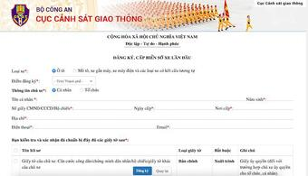 Các bước đăng ký xe lần đầu trực tuyến tại csgt.vn