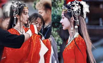 Lộ tạo hình áo đỏ cực phẩm của Viên Băng Nghiên, fan chia sẻ ảnh chụp vội đẹp mê mẩn