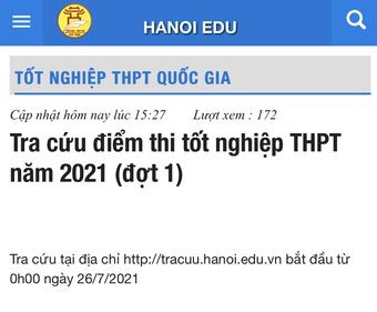 Thí sinh bắt đầu tra cứu điểm thi tốt nghiệp THPT từ 0 giờ ngày 26.7
