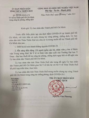 Thừa Thiên - Huế sẵn sàng chi viện 370 y bác sĩ vào TP.HCM chống dịch Covid-19