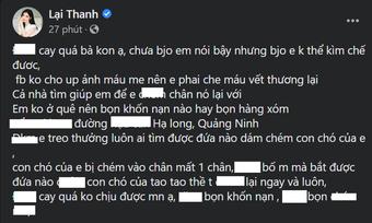 Chó cưng của Thanh Bi bị kẻ giấu mặt chém mất 1 chân