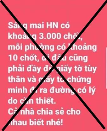 Truy tìm đối tượng tung tin đồn bịa đặt ''Hà Nội có 3.000 chốt kiểm soát người dân ra khỏi nhà''