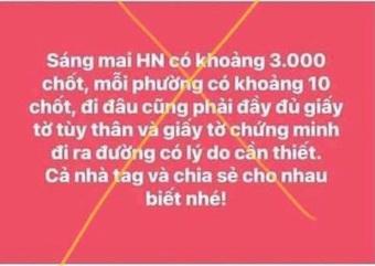 Xử phạt 12,5 triệu đồng người phụ nữ tung tin ''Hà Nội có 3.000 chốt kiểm soát, mỗi phường có 10 chốt''