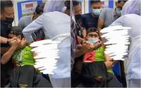 Nam y tá la hét ầm ĩ, phải nhờ tới 4 người giữ khi tiêm phòng khiến hội chị em cười nắc nẻ
