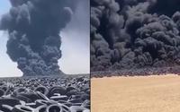 Nghĩa địa lốp xe lớn nhất thế giới bốc cháy