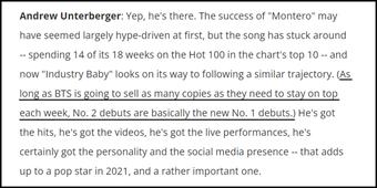 Phó tổng biên tập Billboard có phát ngôn tranh cãi, ám chỉ no.1 của BTS còn thua no.2?