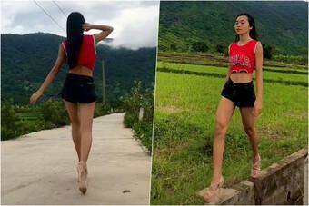 """Mặc quần bó chẽn catwalk ngoài ruộng, người đẹp Khánh Hoà khiến dân làng """"tròn mắt"""""""