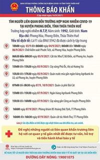 Thừa Thiên - Huế: Thêm 3 F0, khẩn cấp tìm người liên quan đến ca nghi nhiễm