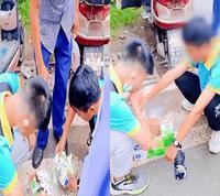 Hai nam sinh cố uống hết thùng sữa 24 hộp ngay trước cổng trường