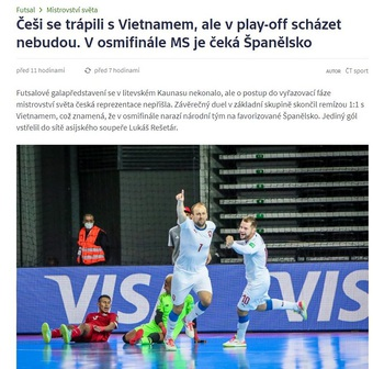 Báo Séc ca ngợi sự kiên cường của tuyển futsal Việt Nam