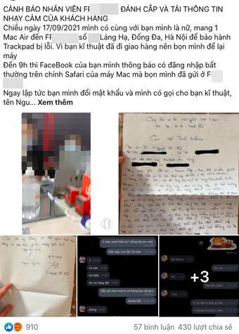 Nhân viên sửa Macbook ở Hà Nội bị tố ăn cắp thông tin nhạy cảm