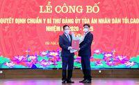 Trao quyết định chuẩn y Bí thư Đảng ủy; bổ nhiệm Chánh Văn phòng TANDTC