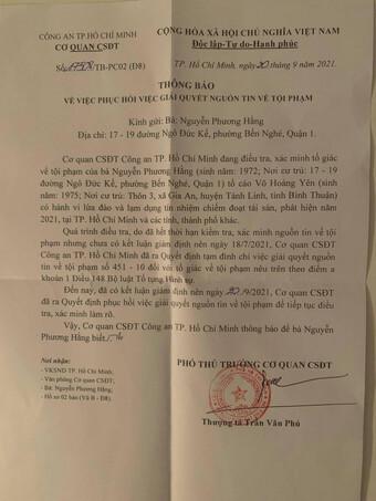 Công an TP.HCM phục hồi điều tra vụ bà Nguyễn Phương Hằng tố ông Võ Hoàng Yên