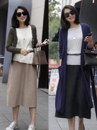 Phụ nữ trung niên chân mập, chân dày, mặc áo dệt kim là nên mặc 3 quần, váy này, vừa thanh lịch lại gầy và khí chất