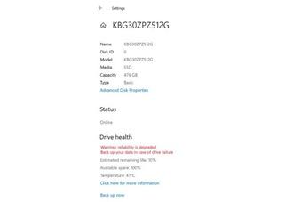 Windows 10 cảnh báo người dùng trước khi SSD NVMe bị lỗi