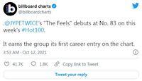 TWICE lần đầu xuất hiện tại Billboard Hot 100 sánh vai BLACKPINK và Wonder Girls, BTS rớt hạng nhanh chóng sau No.1 tuần trước