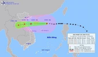 Bão số 8 đang đạt cường độ mạnh nhất, gió giật cấp 14, hướng vào Thanh Hóa-Quảng Bình