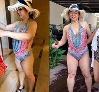"""Bà Hằng bị chụp lén trong trang phục bikini, ngoại hình nhìn khác lạ như """"một trời một vực"""" với ảnh tự up?!"""