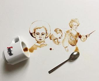 Nữ họa sĩ nổi tiếng với biệt tài vẽ tranh nghệ thuật bằng cà phê