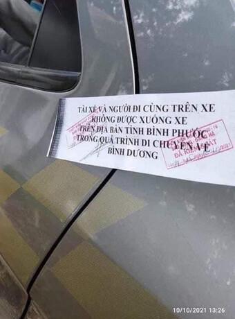 Bình Phước không có chủ trương dán niêm phong vào cửa xe ô tô