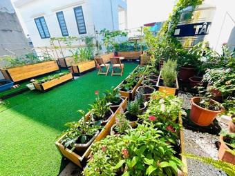 Tận dụng đồ cũ, mẹ đảm Hải Phòng làm vườn đẹp như tranh trên nóc nhà