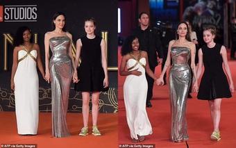 Hai con gái hộ tống Angelina Jolie quảng bá phim ở Italy