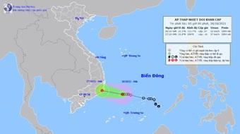 Áp thấp nhiệt đới mạnh thêm, gió giật cấp 9 áp sát Nam Trung Bộ