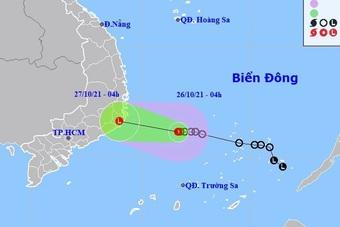 Áp thấp nhiệt đới hướng vào đất liền các tỉnh Khánh Hòa - Bình Thuận
