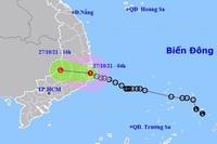 Áp thấp nhiệt đới đã vào bờ biển Khánh Hòa, nhiều nơi mưa to