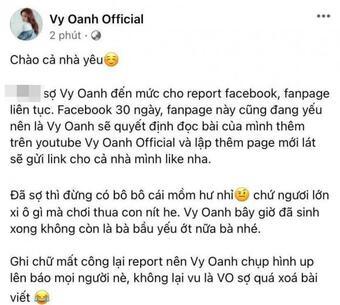 Bị phá khóa trang cá nhân, Vy Oanh đanh thép nhắn đến nữ streamer: ''Đã sợ thì đừng bô bô cái mồm hư''